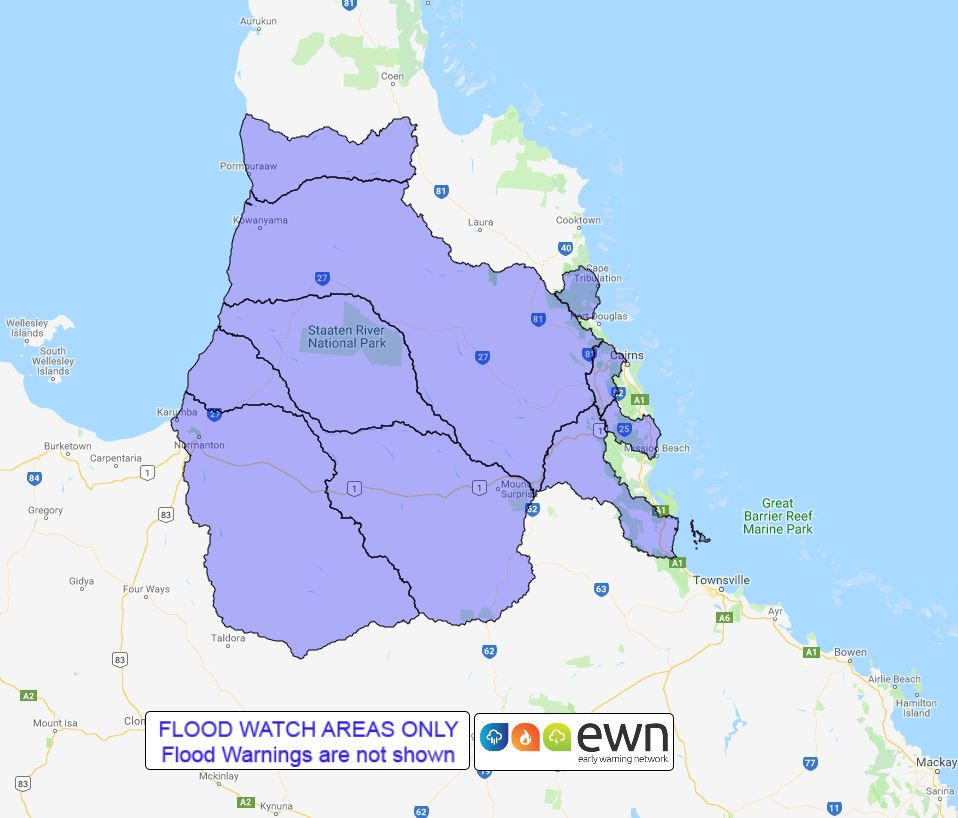 Map Of Australia Cape York Peninsula.Qld Flood Watch North Tropical Coast And Southern Cape York